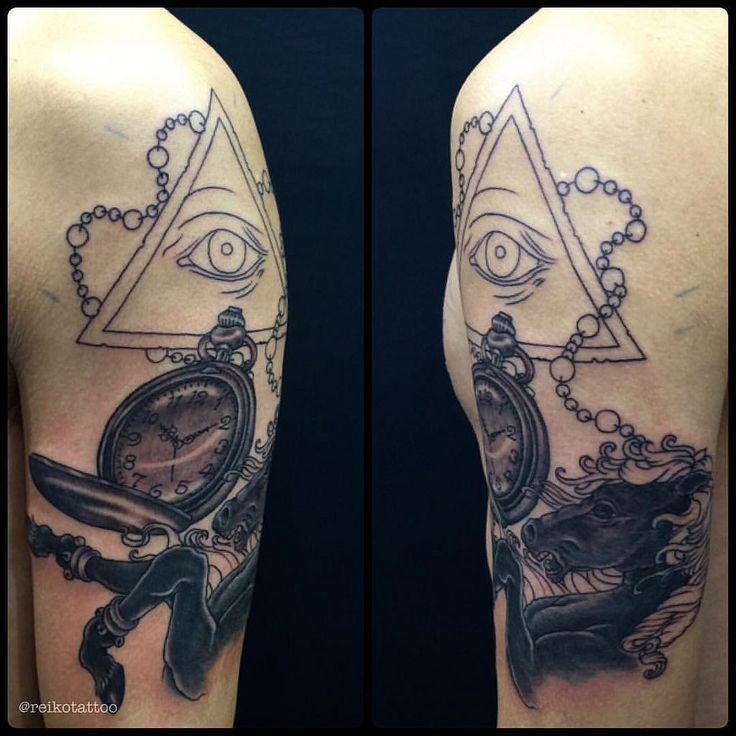 #allseeingeye #clock #horse #tattoo #プロビデンスの目 #懐中時計 #馬 #タトゥー #reikotattoo #studiokeen #名古屋 #大須 #矢場町  reikotakagi@mac.com