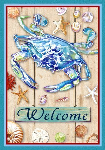 Blue Crab Coastal Welcome Garden Flag by Custom Decor. $8.95. Fade and mildew resistant, made for all weather. Flags are made of permanently dyed polyester for long lasting beauty. Garden Flag size measures 12 inches x 18 inches. Made in the USA. Fits Garden size flag holder. Blue Crab Coastal Welcome Garden Flag. Save 40% Off!