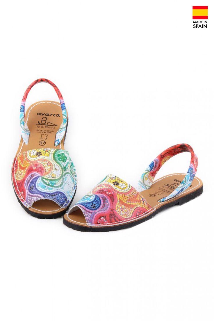 Sandale Avarca din piele naturala Dali, multicolor