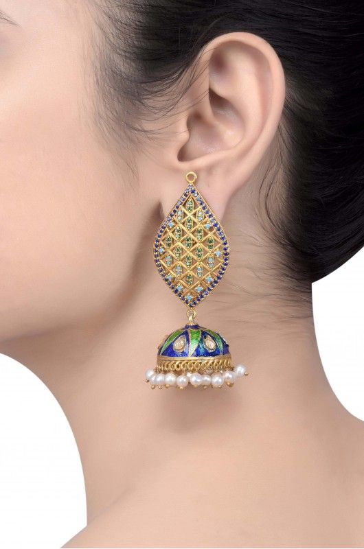Silver Blue Green Enamelled Jaali Multi Crystal Pearl Jhumka