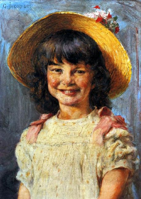 '' Girl Laughing '' by Georgios Iakovidis (1853 – 1932, Greek)