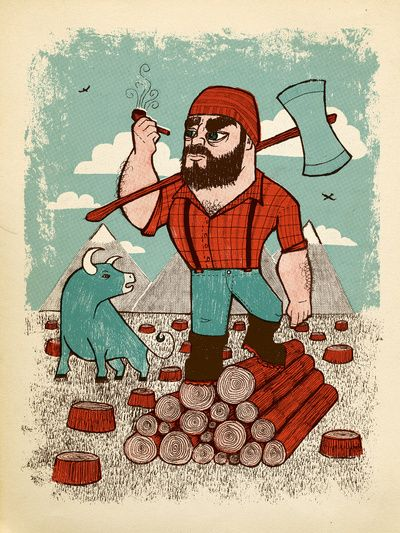 Paul bunyan babe art print xander 39 s lumberjack for Tattoo grand rapids mn