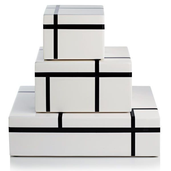 Desk Organizers, Luxury Black &  White Lacquer Boxes, so cool, one of over 3,000 limited production interior design inspirations inc, furniture, lighting, mirrors, tabletop accents and gift ideas to enjoy repin and share at InStyle Decor Beverly Hills Hollywood Luxury Home Decor enjoy & happy pinning