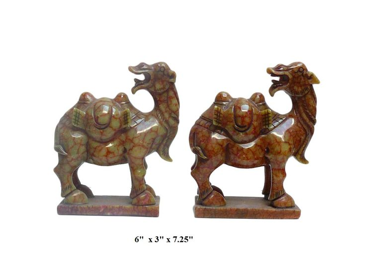 Pair handcrafted detail chinese oriental jade stone carved