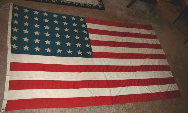"""Large """"Old 5x8 A"""" 48 Star American Flag or Old Glory Stitched Stripes and Printed Stars"""
