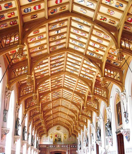 Ceiling of St Georges Hall.In the 1360s King Edward III extended Windsor Castle, UK, to include St Georges Hall to be used by the Knights of his newly founded, Order of the Garte