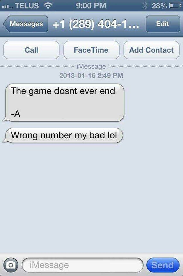 """This wrong number text from A: 