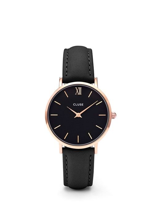The Minuit collection from Cluse pays a tribute to starry nights and elegant evening looks. The delicate design of this featherlight watch makes it the perfect accessory for a fashionable yet subtle result. The watch features a 33mm case where black is combined with rose gold details to create a beautiful minimalist timepiece.