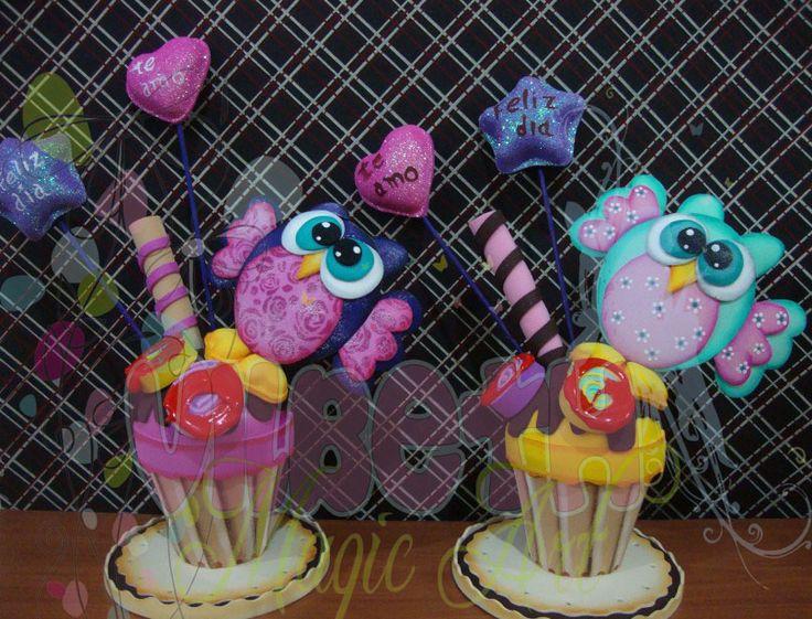 helados/cupcake con buhito