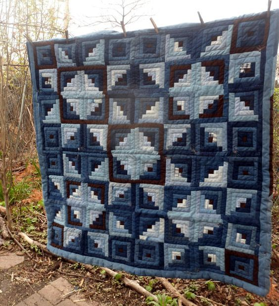 Blue Jean Quilt Log Cabin Touching Stars Upcycled Denim Milkweed Seeds Quilt Denim Patchwork 57″ x 57″ Quilt Blue Brown Jeans Unusual Quilt