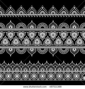 Border line lace mehndi elements in Indian style for card and tattoo isolated on black background. Vector illustration