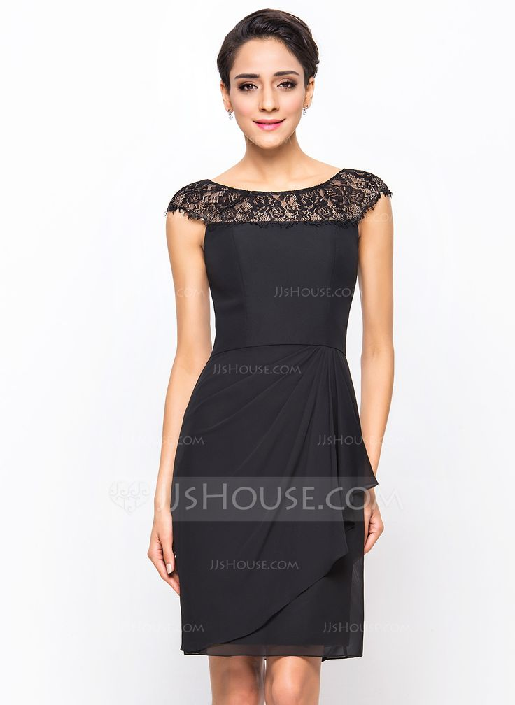 Sheath/Column Scoop Neck Knee-Length Chiffon Cocktail Dress With Lace Cascading Ruffles (016055956) - JJsHouse  (Color should be Dark Navy)   $106.99
