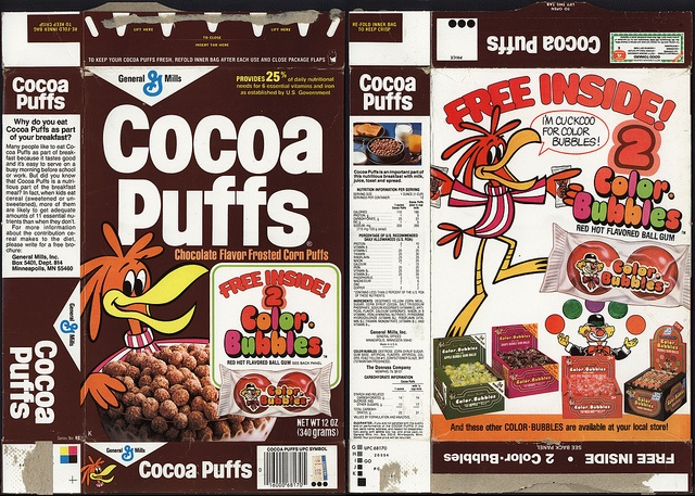 General Mills - Cocoa Puffs - Color-Bubbles bubble gum - cereal box - 1981 by JasonLiebig, via Flickr