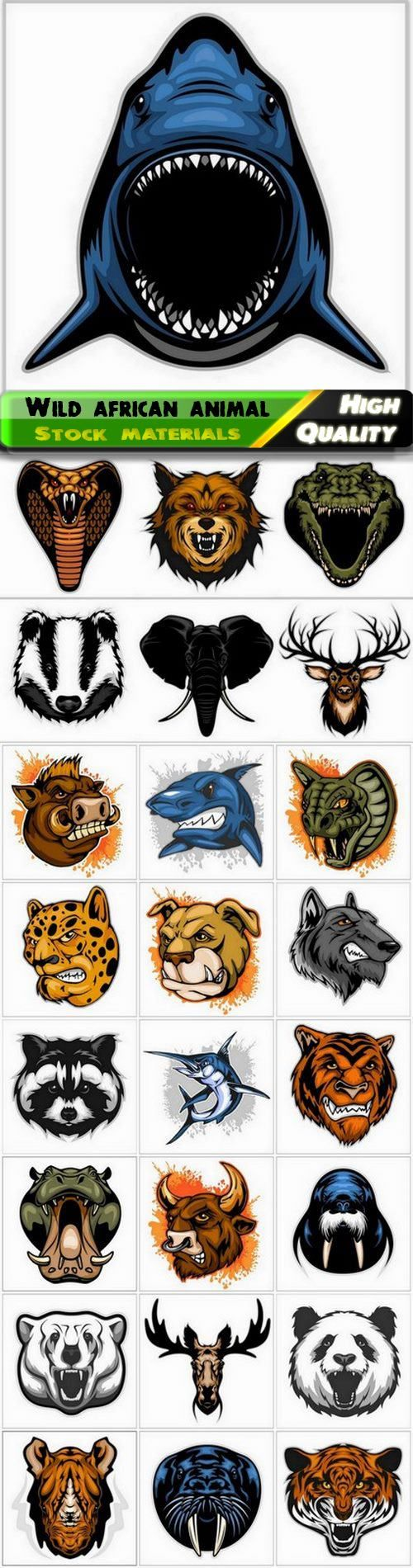 Wild african angry animal with terrible teeth and grin 25 Eps