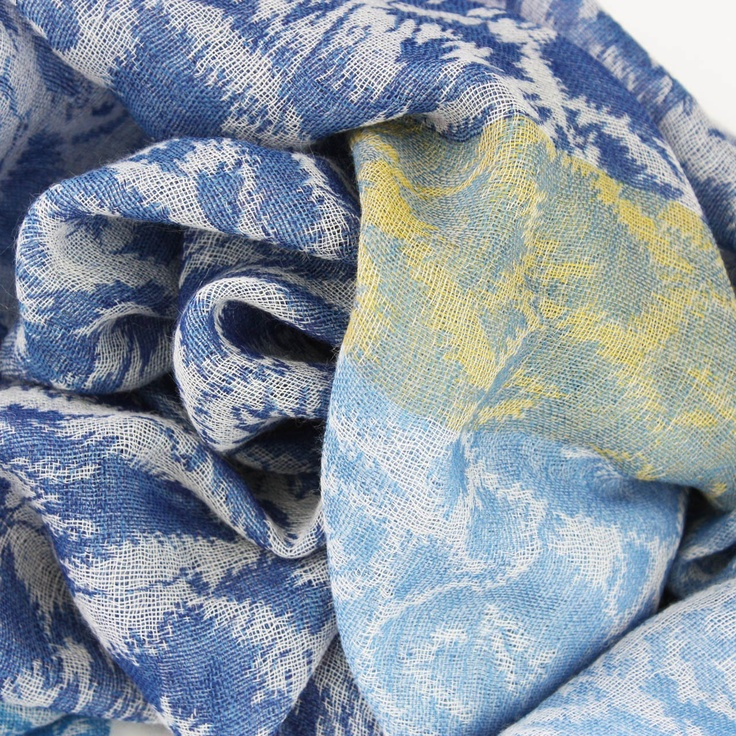 Ikat Ocean Wool Scarf from the Juniper Hearth e-Emporium with tones of blue and mustard. 100% fine wool, handwoven. $89.