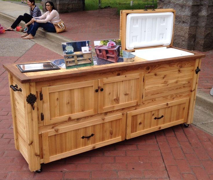 Outdoor Storage And Serving Bar Outdoor Cabinet Wooden Cooler Bar Furniture