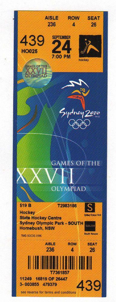 Ticket Olympic Games SYDNEY 2000 HOCKEY