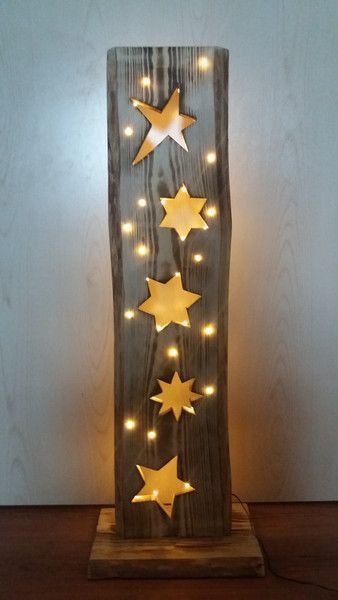 Deko-Objekte - Holzbrett mit Sterne + LED-Beleuchtung - ein