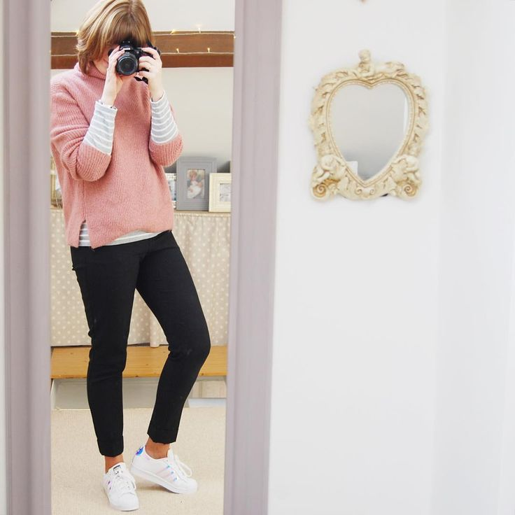 "Emily Inman on Instagram: ""Today I am loving my @adidasuk Superstar trainers @mango pink jumper over @joulesclothing grey stripe harbour tee. The trouser are plain black ""work"" trousers from @primark. #BDAGwears #mystyle #fashion #OOTD #wiwt #fashion #fashionblogs #fashionista #instafashion #instastyle #sharinguscaring #stealmystyle #fbloggers #fblog #mumstyle #realmumstyle #easy #outfit #lifestyle #lifecloseup #lifestylebloggers #brickdustandglitter"""