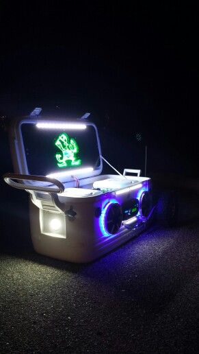 Custom built radio cooler that I made. Leds. Polk audio. Pioneer. Notre Dame.