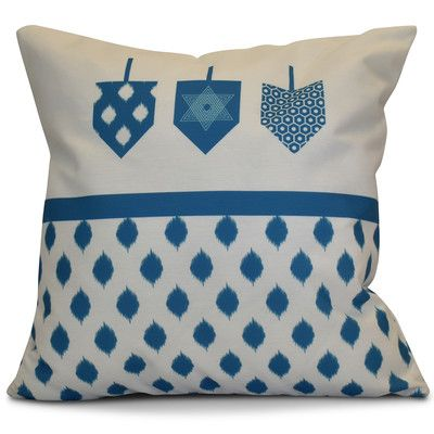 """The Holiday Aisle Hanukkah 2016 Decorative Holiday Geometric Outdoor Throw Pillow Size: 18"""" H x 18"""" W x 2"""" D, Color: Teal"""