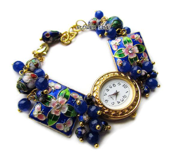 Blue wrist watch handmade ladies watch cloisonne by FlowerWatch