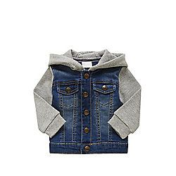 F&F Denim Body Loopback Hoodie 00-03 months Blue & Grey