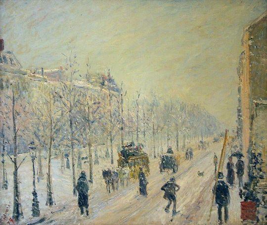 """Camille Pissarro (1830-1903) ~ """"Les Boulevards Exterieurs, Effet de Neige, Paris"""""""