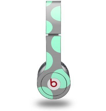 Kearas Polka Dots Mint And Gray Decal Style Skin (fits Beats Solo HD Headphones