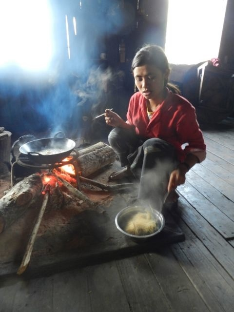 Traditional home cooked meal in a Paoulong village