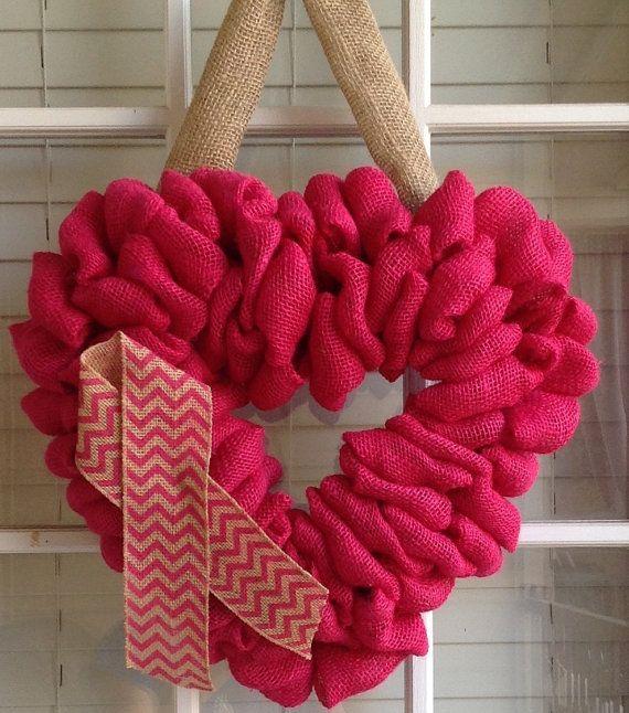 Burlap Wreath Breast Cancer Awareness Wreath Door by JnSMDesigns