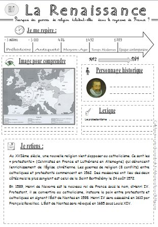 H17 guerres de religion La frise et la carte super pour une bonne visualisation (idée pour hda)