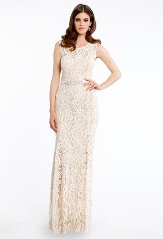 Sleeveless Lace Dress with Rhinestone Belt