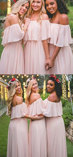 Off-the-shoulder Pastel Pink Ruffles Long Chiffon Bridesmaid Gowns,Floor-length Prom Dresses
