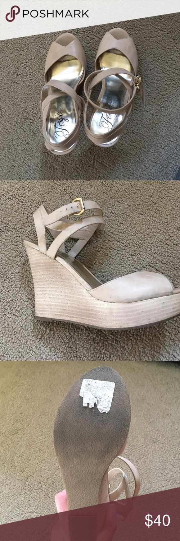 Fergie Wedge ankle wrap shoes Super cute wedge Fergie shoes.  Love these and so fun, too high for me.  41/2 inch heel and 1 inch platform.  Would be fun to wear with skinnies or a cute summer dress. 💕 Fergie Shoes Wedges