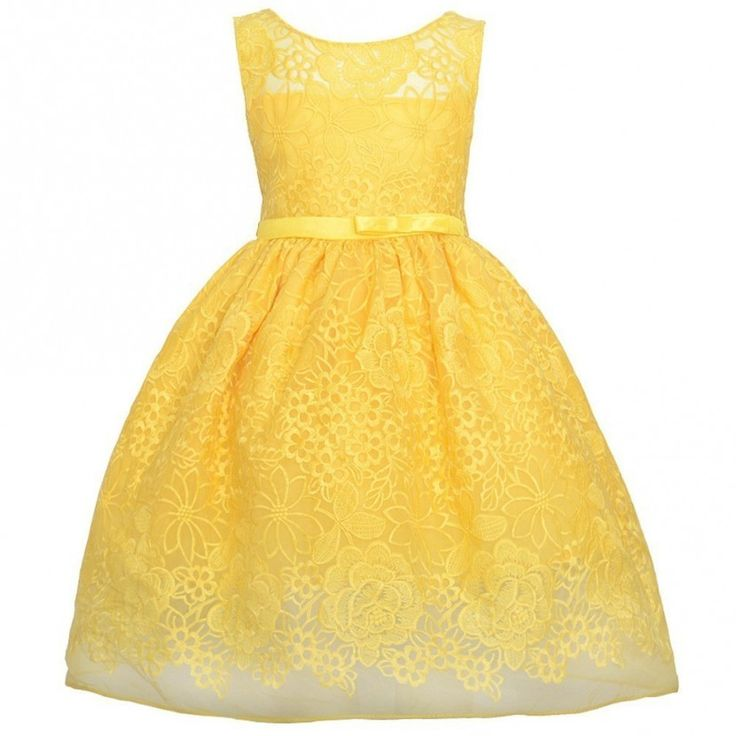 Exquisite sleeveless yellow flower embroidered Easter special occasion dress by Sweet Kids just for your little girl.