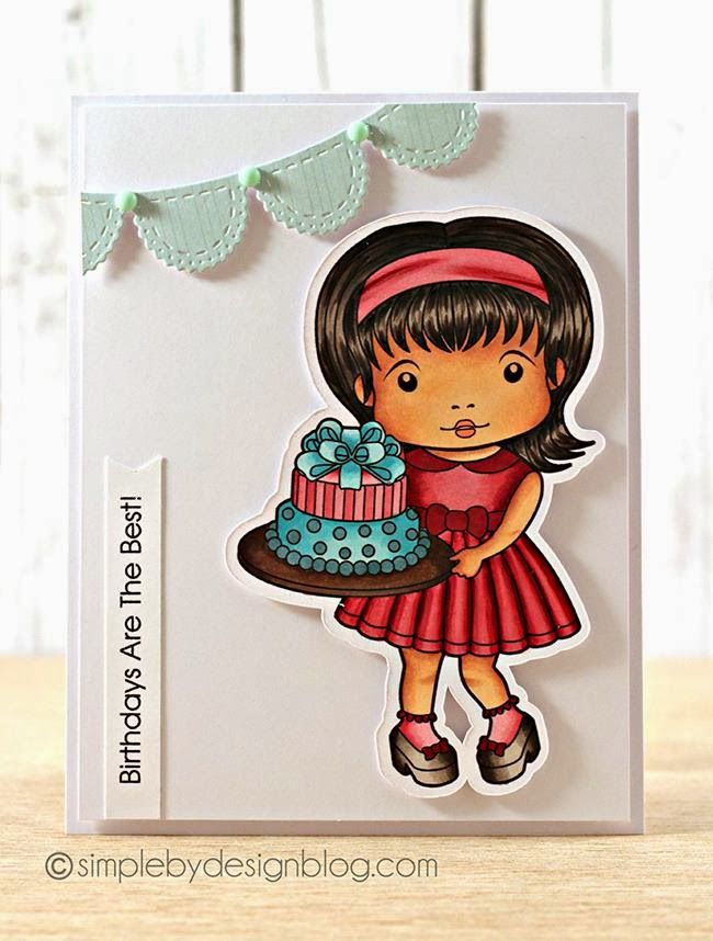 Card by Joy with Birthday Cake Marci and Scalloped Banner Die :-) www.lalalandcrafts.com