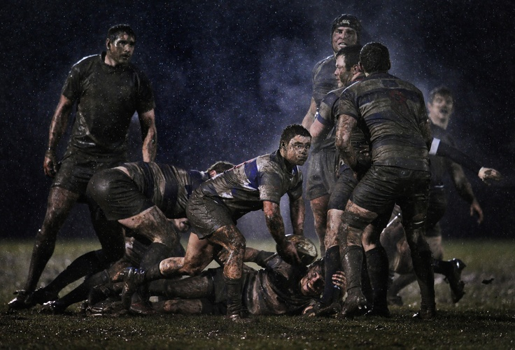 """""""Scrum Half"""", Ray McManus. World Press Photo 2012: Sports - 2nd prize singles.    Blackrock College scrum-half Conor Crowley releases the ball after a ruck, during a Division 1A All-Ireland League rugby union match against Old Belvedere."""