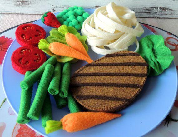 Sentía la comida, sentía vajilla, fieltro carne carne verduras frutas, partido finja el juego comida juguete cocina infantil. juguete de Montessori, regalo de cumpleaños
