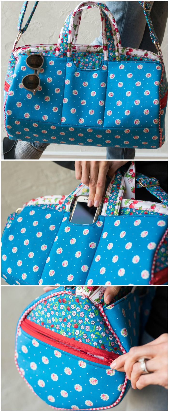 Berry Delicious Strawberry Fizz Duffle sewing pattern featuring Lily & Loom Fabrics