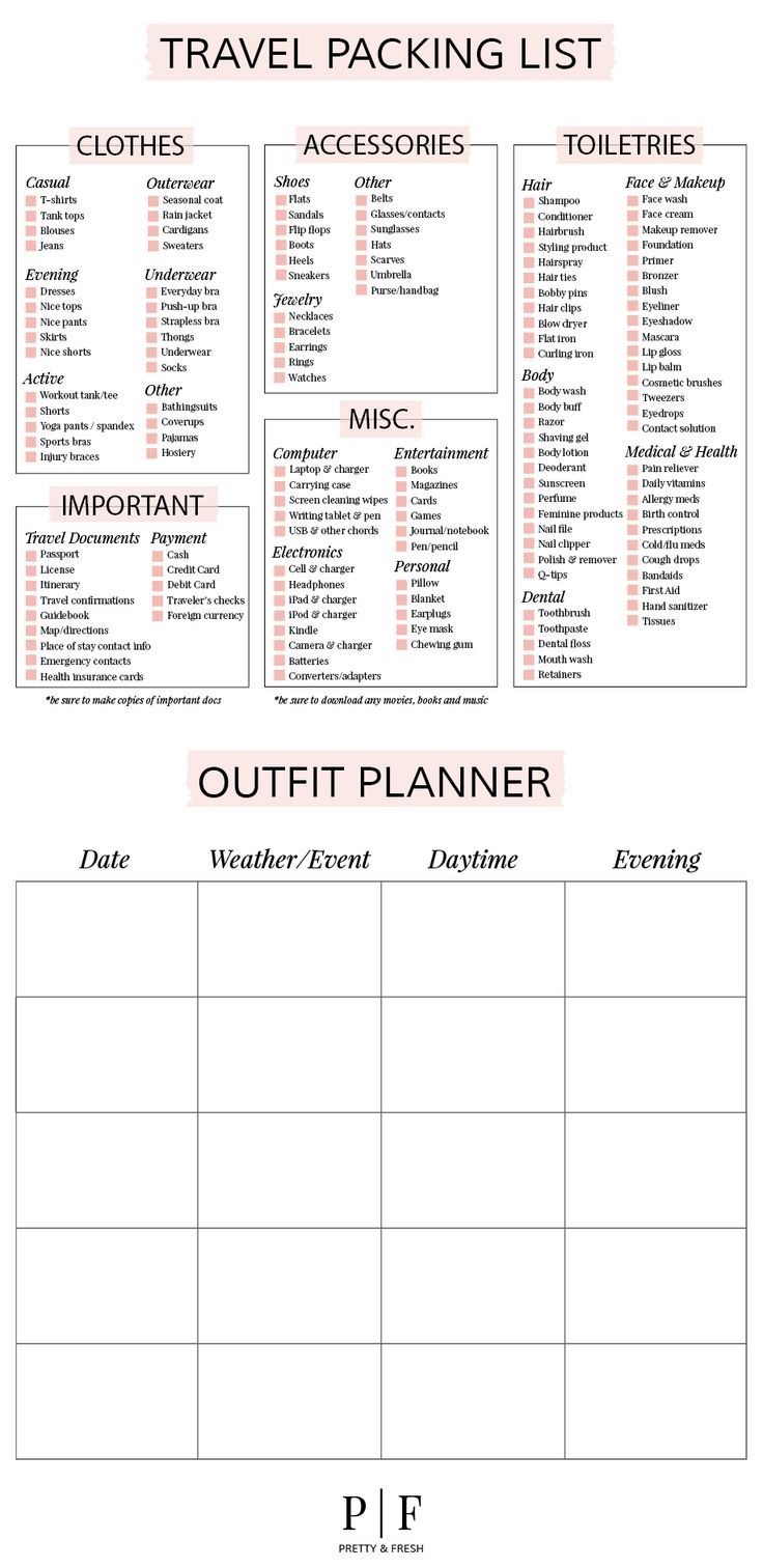 Planning ahead can save you a lot of hassle and headaches from planning outfits to making sure you don't forget the chargers! Use a free printable like this one.