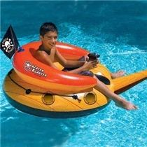 Ahoy There - Your kids will love this Inflatable Pirate Ship ride on with constant supply water pistol.