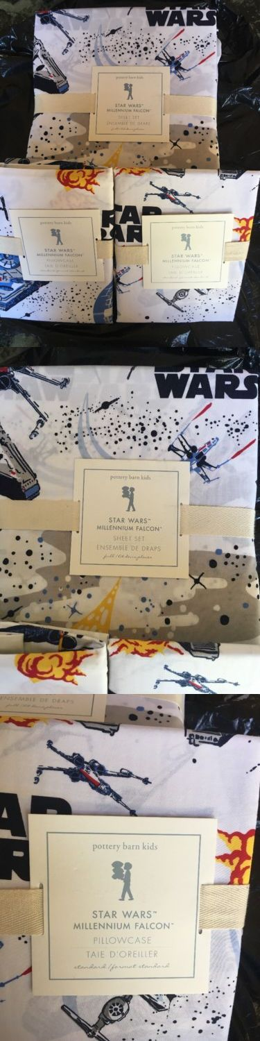 Kids Bedding: Pottery Barn Kids ~ Star Wars Millennium Falcon Full Sheet Set And 2X Pillowcases! -> BUY IT NOW ONLY: $65 on eBay!