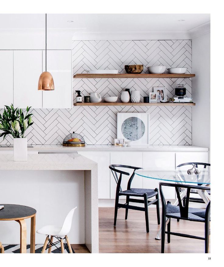 Subway tile options. Amazing! Splashback, wooden shelf, bench, pendent & wishbone chairs