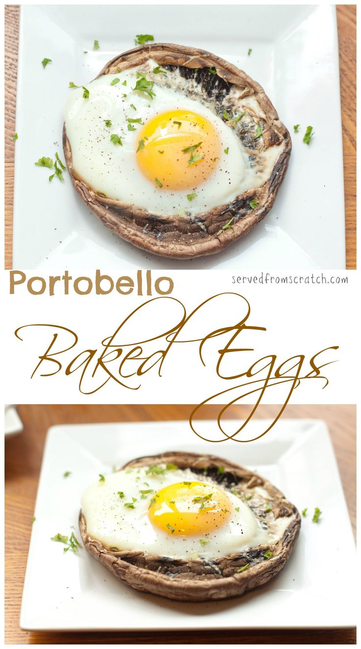 "Start your day right with a hearty Vegetarian Breakfast by baking your egg right in a ""meaty"" Portobello Mushroom!"