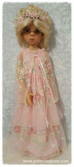 Pink embroidered lace for Kaye Wiggs MSD doll  Www.jodiecreations.com