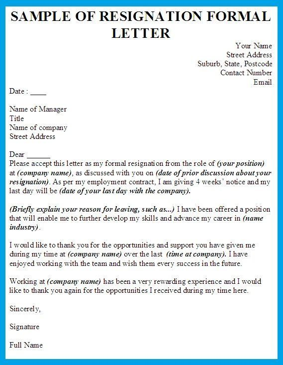Pin by Home Ideas on Template Formal resignation letter sample