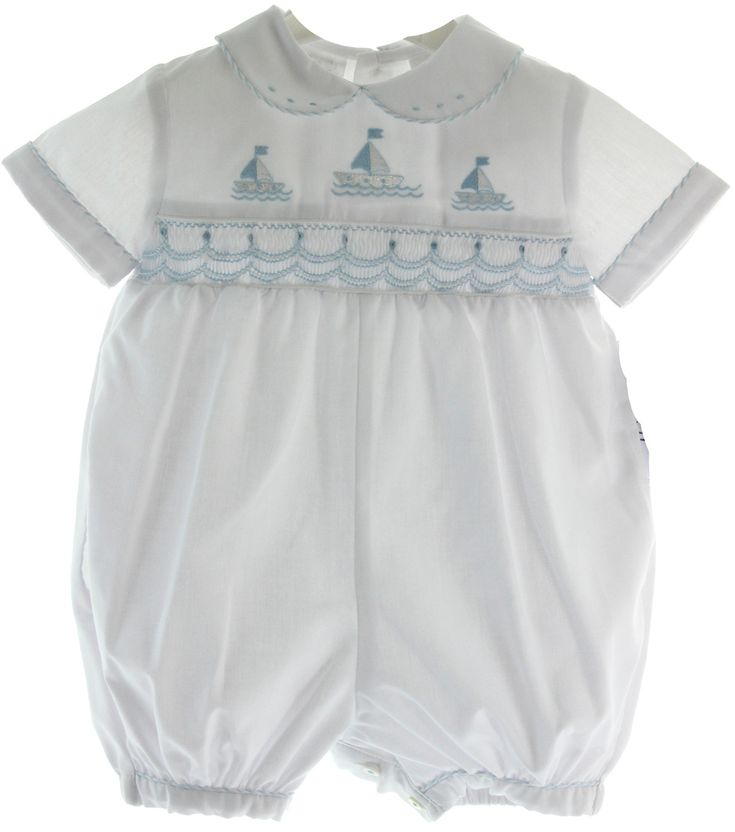 Hiccups Childrens Boutique - Infant Boys White Sailboat Romper Outfit Blue Smocking , $63.00 (http://www.hiccupschildrensboutique.com/infant-boys-white-sailboat-romper-outfit-blue-smocking/)