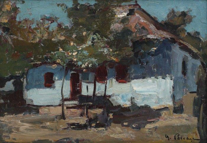"""Casă ţărănească din Târgovişte [anii '20] GHEORGHE PETRAŞCU 1872, Tecuci, Galați - 1949, Bucureşti ulei pe lemn, 27×38,5cm, semnat dreapta jos, cu negru, """"G. Petraşcu"""" Valoare estimativă: € 8.000 - 14.000"""