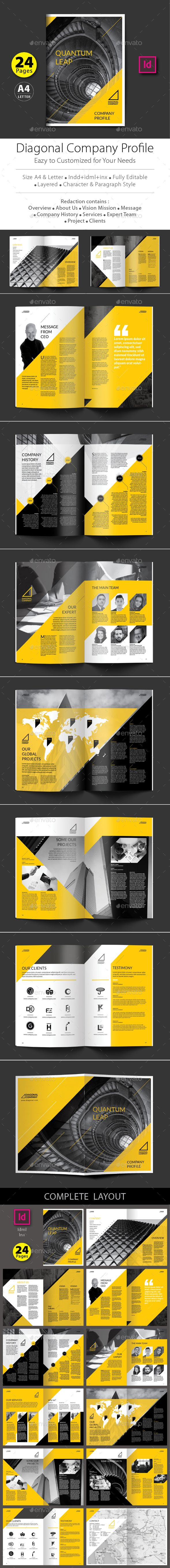 Diagonal Company Profile Design Template InDesign INDD. Download here: http://graphicriver.net/item/diagonal-company-profile-design-template/15855751?ref=ksioks